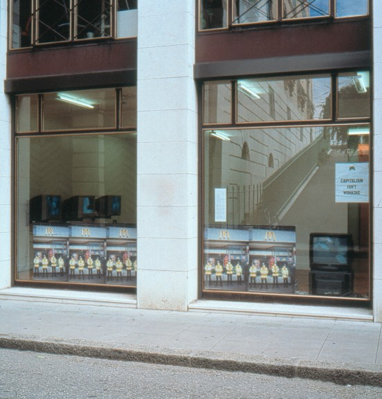 View of the exhibition <em>Social Hackers</em>, Centre d'édition contemporaine, Genève, 2001.