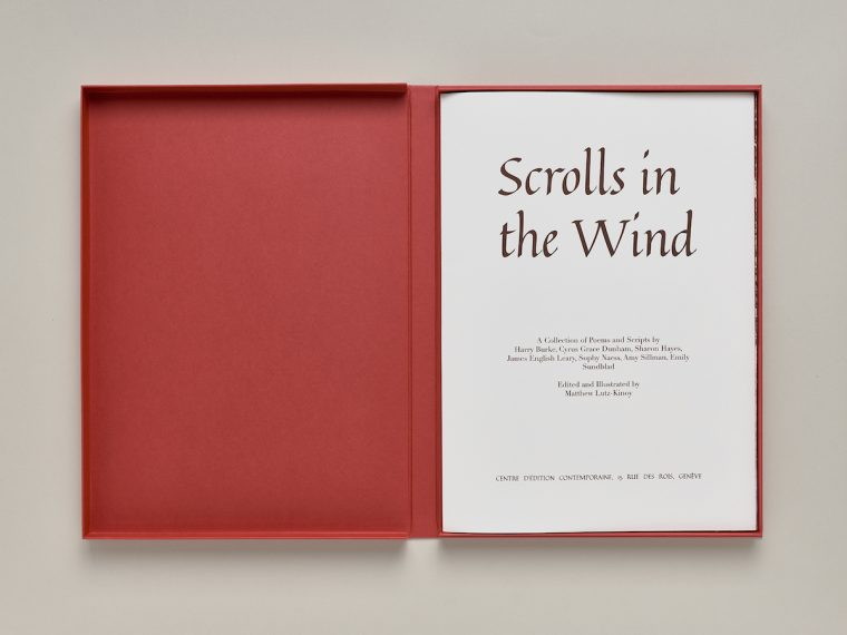 Matthew Lutz-Kinoy, Scrolls in the Wind…, ed. of the CEC, 2018. © Sandra Pointet